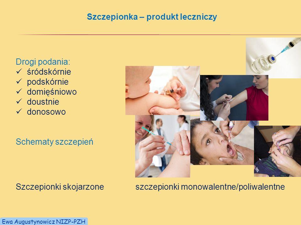 Szczepionka – produkt leczniczy Drogi podania: śródskórnie podskórnie domięśniowo doustnie donosowo Schematy szczepień Szczepionki skojarzone szczepionki monowalentne/poliwalentne Ewa Augustynowicz NIZP-PZH