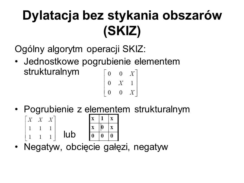 Dylatacja bez stykania obszarów (SKIZ) Ogólny algorytm operacji SKIZ: Jednostkowe pogrubienie elementem strukturalnym Pogrubienie z elementem strukturalnym lub Negatyw, obcięcie gałęzi, negatyw
