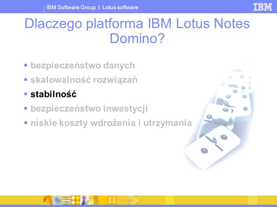 IBM Software Group | Lotus software Dlaczego platforma IBM Lotus Notes Domino? bezpieczeństwo danych skalowalność rozwiązań stabilność bezpieczeństwo