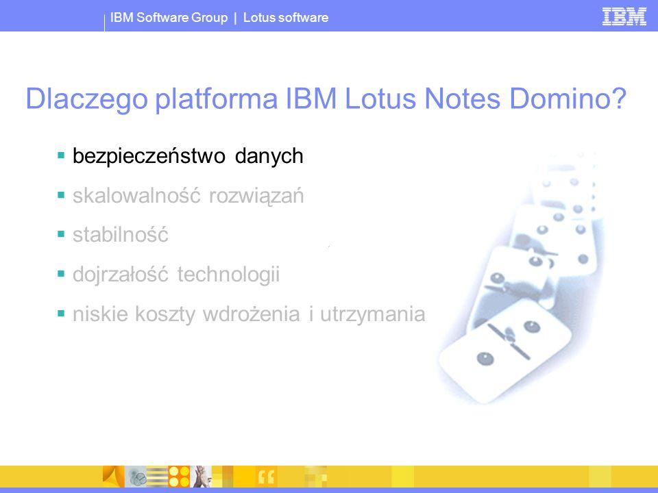 © 2005 IBM Corporation IBM Software Group | Lotus software Dlaczego platforma IBM Lotus Notes Domino? bezpieczeństwo danych skalowalność rozwiązań sta