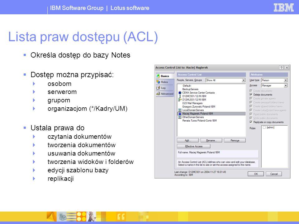© 2005 IBM Corporation IBM Software Group | Lotus software IBM Workplace - strategia Domino Mail, calendaring and collaborative applications Kolejna generacja produktu Współczene, portalowe środowisko pracy Aplikacje komponentowe Rozwiązania skupione na aktywnościach użytkownika Stacje klienckie zarządzane poprzez serwer Lotus Notes Domino 8