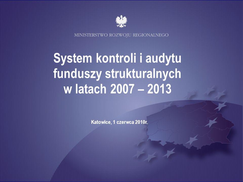 System kontroli i audytu funduszy strukturalnych w latach 2007 – 2013 Katowice, 1 czerwca 2010r.