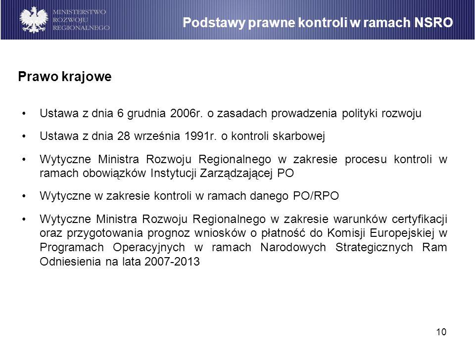 10 Ustawa z dnia 6 grudnia 2006r. o zasadach prowadzenia polityki rozwoju Ustawa z dnia 28 września 1991r. o kontroli skarbowej Wytyczne Ministra Rozw