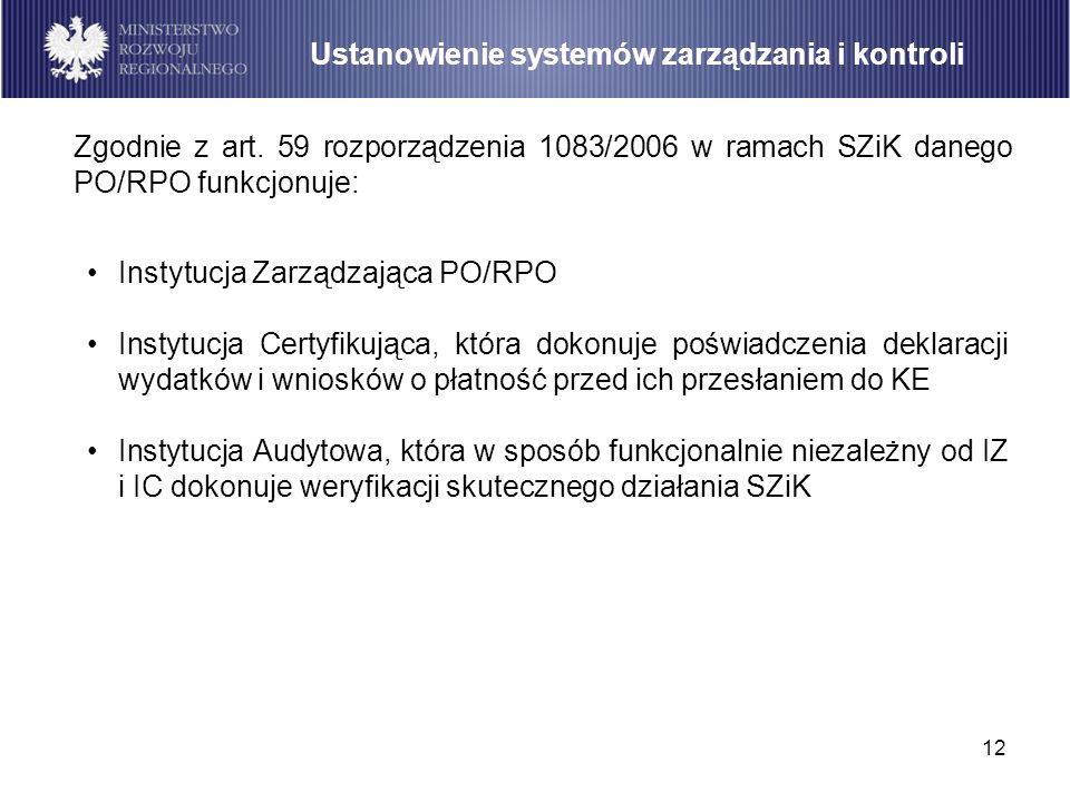 12 Instytucja Zarządzająca PO/RPO Instytucja Certyfikująca, która dokonuje poświadczenia deklaracji wydatków i wniosków o płatność przed ich przesłani