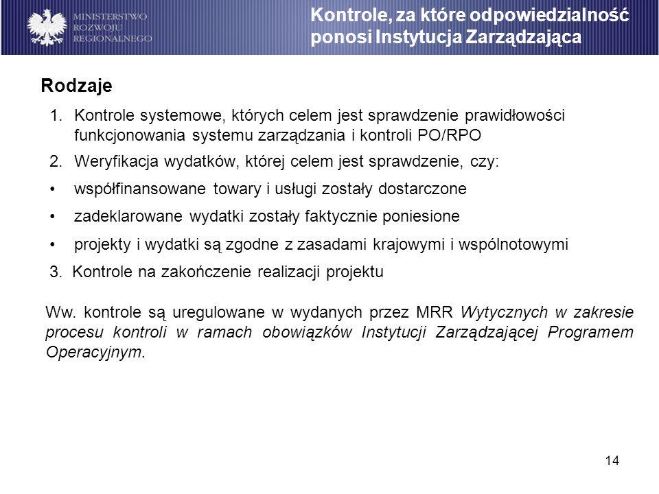 14 1.Kontrole systemowe, których celem jest sprawdzenie prawidłowości funkcjonowania systemu zarządzania i kontroli PO/RPO 2.Weryfikacja wydatków, któ
