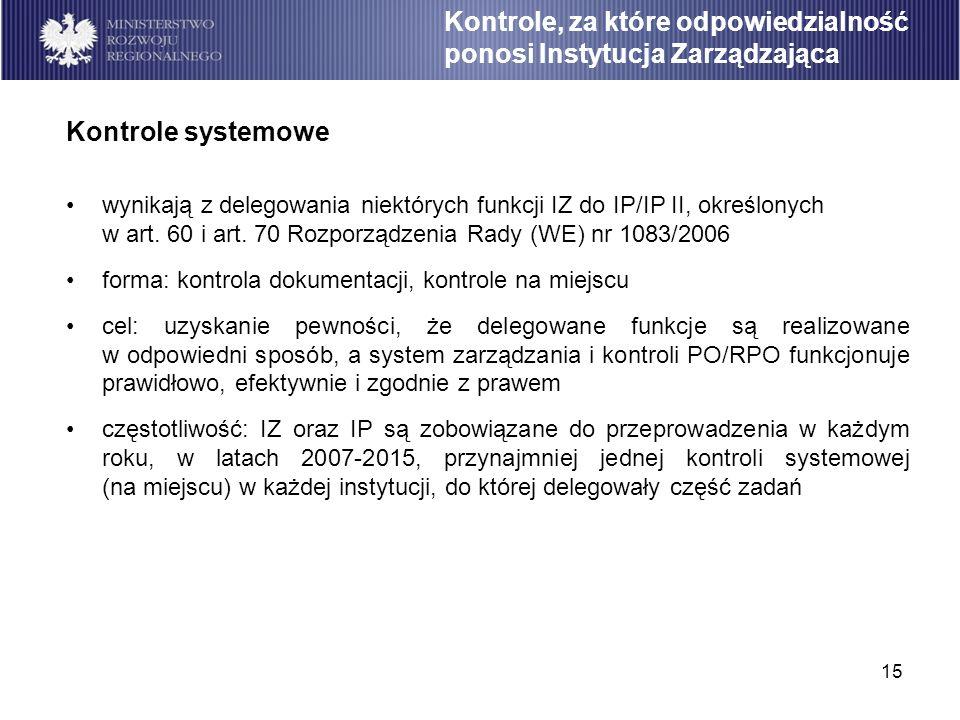 15 wynikają z delegowania niektórych funkcji IZ do IP/IP II, określonych w art. 60 i art. 70 Rozporządzenia Rady (WE) nr 1083/2006 forma: kontrola dok