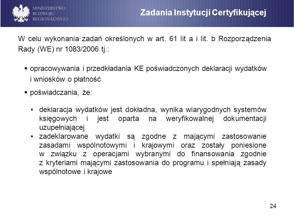 24 opracowywania i przedkładania KE poświadczonych deklaracji wydatków i wniosków o płatność poświadczania, że: Zadania Instytucji Certyfikującej W ce