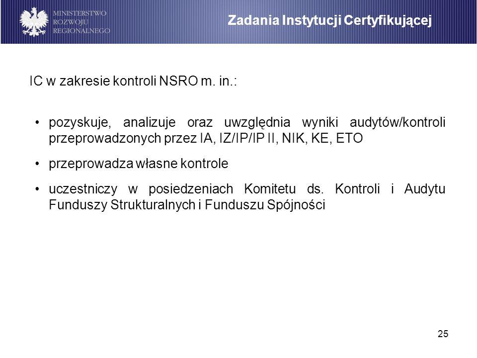 25 pozyskuje, analizuje oraz uwzględnia wyniki audytów/kontroli przeprowadzonych przez IA, IZ/IP/IP II, NIK, KE, ETO przeprowadza własne kontrole ucze