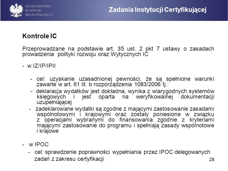 28 Kontrole IC Przeprowadzane na podstawie art. 35 ust. 2 pkt 7 ustawy o zasadach prowadzenia polityki rozwoju oraz Wytycznych IC - w IZ/IP/IPII - cel