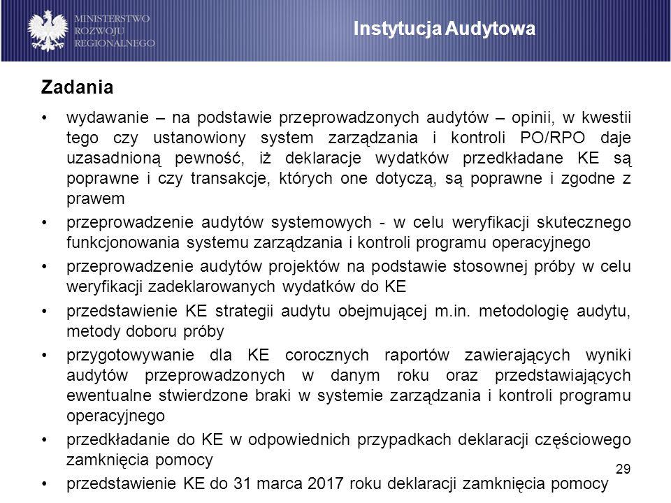 29 wydawanie – na podstawie przeprowadzonych audytów – opinii, w kwestii tego czy ustanowiony system zarządzania i kontroli PO/RPO daje uzasadnioną pe