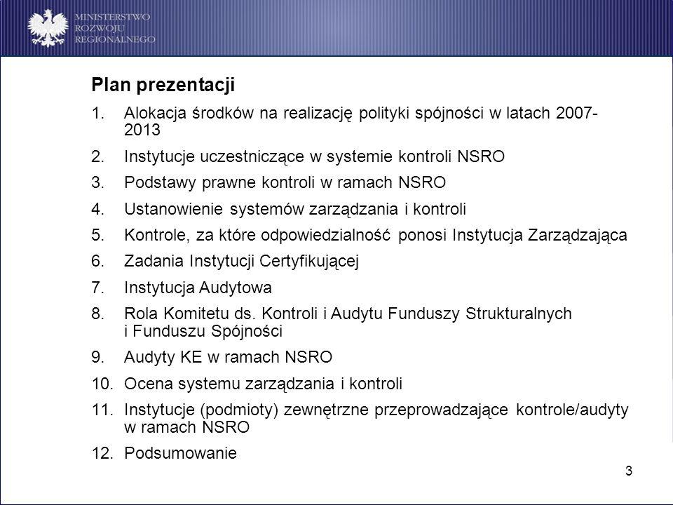 3 Plan prezentacji 1.Alokacja środków na realizację polityki spójności w latach 2007- 2013 2.Instytucje uczestniczące w systemie kontroli NSRO 3.Podst