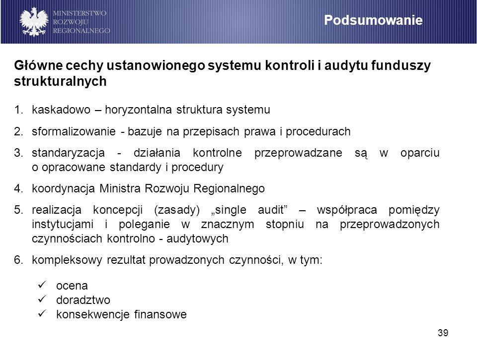 39 Podsumowanie 1.kaskadowo – horyzontalna struktura systemu 2.sformalizowanie - bazuje na przepisach prawa i procedurach 3.standaryzacja - działania