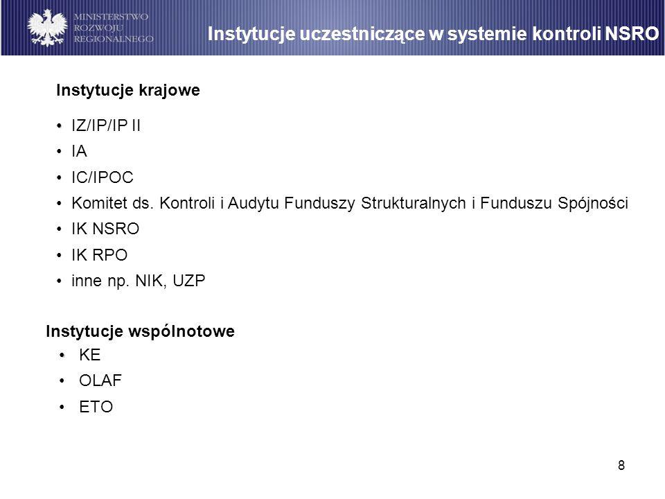 8 Instytucje uczestniczące w systemie kontroli NSRO Instytucje krajowe IZ/IP/IP II IA IC/IPOC Komitet ds. Kontroli i Audytu Funduszy Strukturalnych i