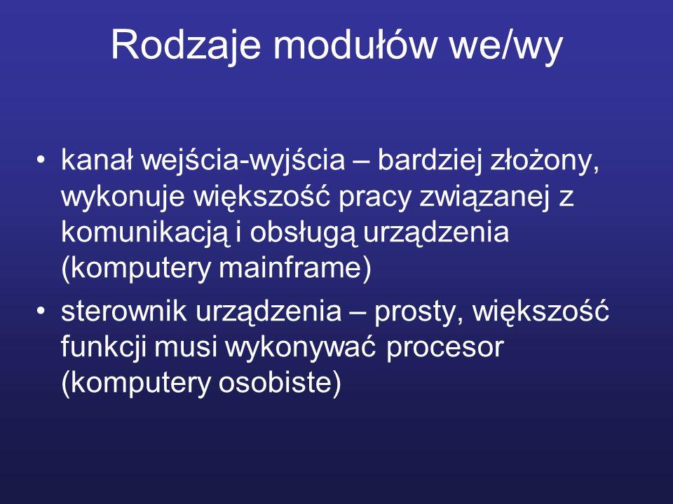 Rodzaje modułów we/wy kanał wejścia-wyjścia – bardziej złożony, wykonuje większość pracy związanej z komunikacją i obsługą urządzenia (komputery mainf