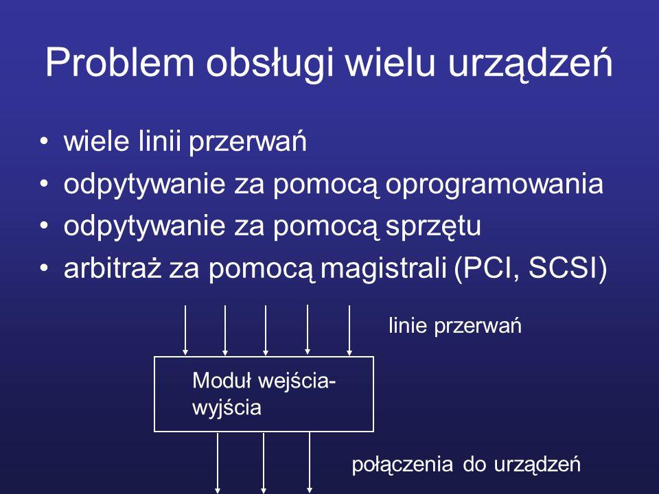 Problem obsługi wielu urządzeń wiele linii przerwań odpytywanie za pomocą oprogramowania odpytywanie za pomocą sprzętu arbitraż za pomocą magistrali (