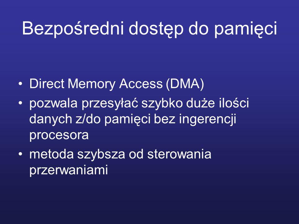 Bezpośredni dostęp do pamięci Direct Memory Access (DMA) pozwala przesyłać szybko duże ilości danych z/do pamięci bez ingerencji procesora metoda szyb