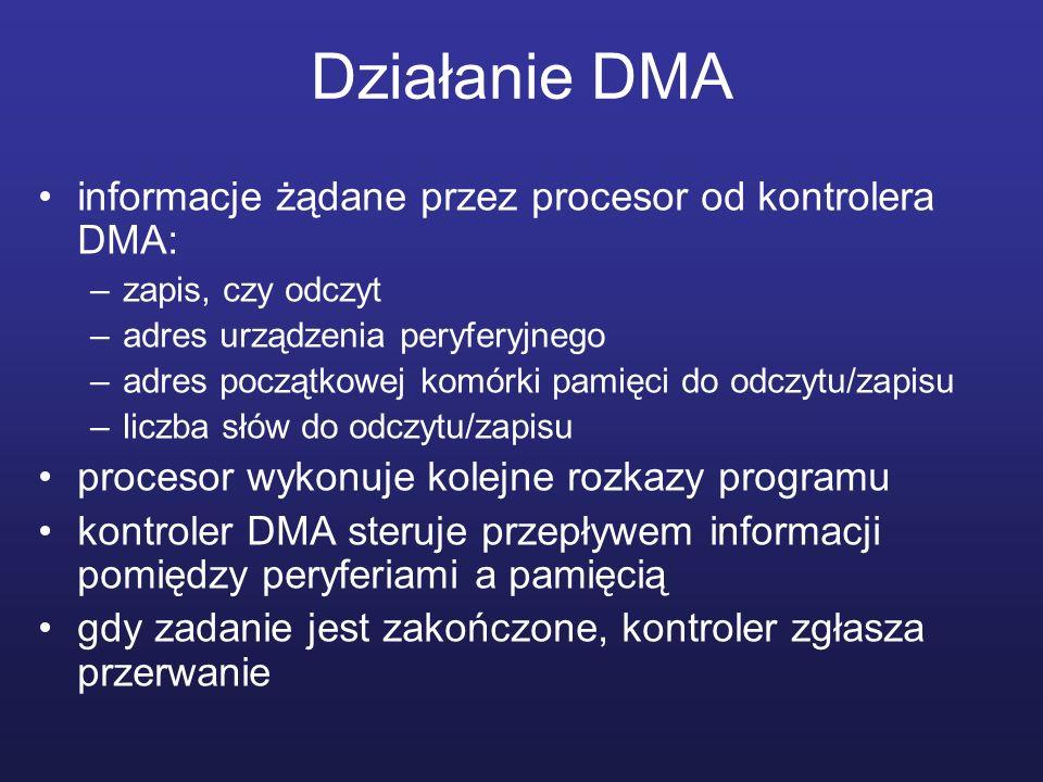 Działanie DMA informacje żądane przez procesor od kontrolera DMA: –zapis, czy odczyt –adres urządzenia peryferyjnego –adres początkowej komórki pamięc