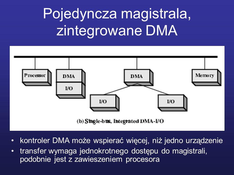 Pojedyncza magistrala, zintegrowane DMA kontroler DMA może wspierać więcej, niż jedno urządzenie transfer wymaga jednokrotnego dostępu do magistrali,