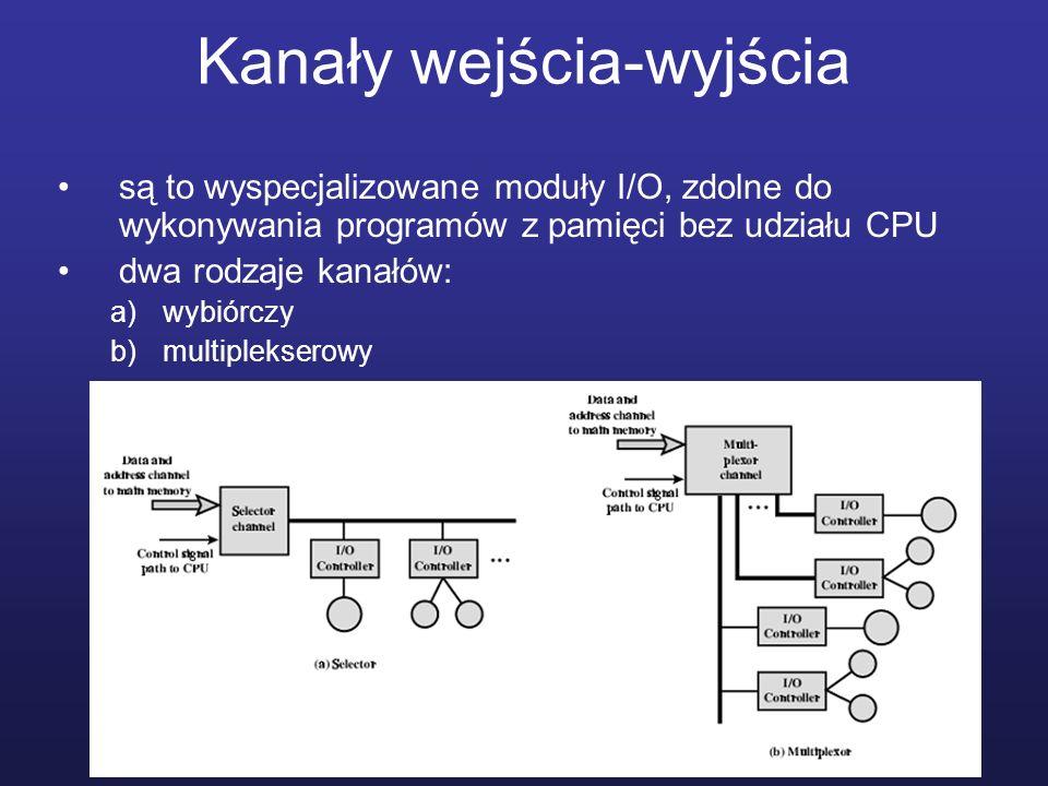 Kanały wejścia-wyjścia są to wyspecjalizowane moduły I/O, zdolne do wykonywania programów z pamięci bez udziału CPU dwa rodzaje kanałów: a)wybiórczy b