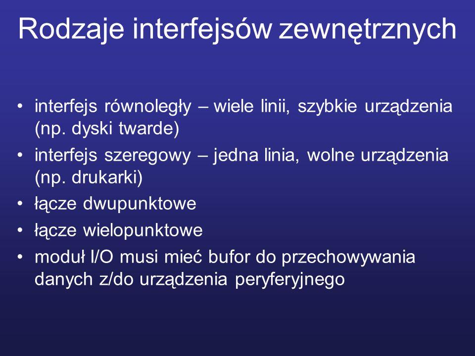 Rodzaje interfejsów zewnętrznych interfejs równoległy – wiele linii, szybkie urządzenia (np. dyski twarde) interfejs szeregowy – jedna linia, wolne ur