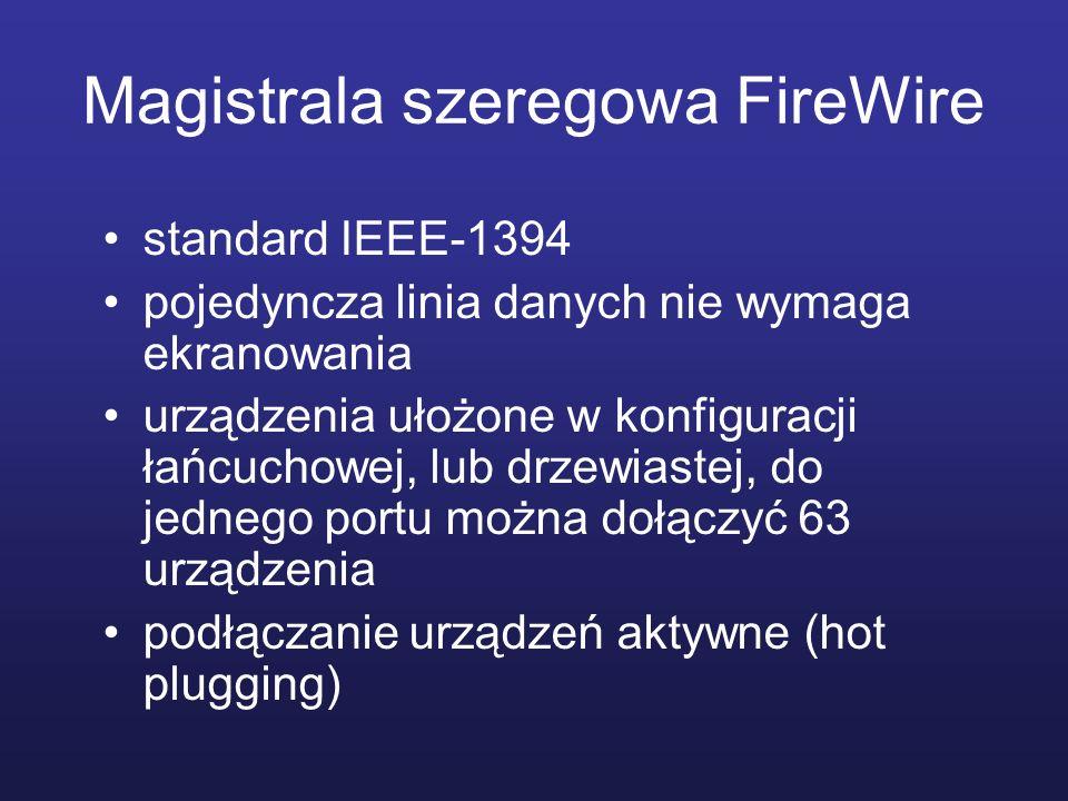 Magistrala szeregowa FireWire standard IEEE-1394 pojedyncza linia danych nie wymaga ekranowania urządzenia ułożone w konfiguracji łańcuchowej, lub drz