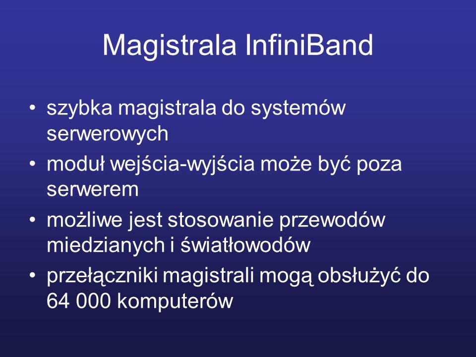 Magistrala InfiniBand szybka magistrala do systemów serwerowych moduł wejścia-wyjścia może być poza serwerem możliwe jest stosowanie przewodów miedzia