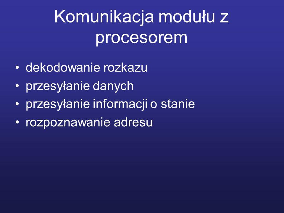 Przykład współpracy procesora i urządzenia peryferyjnego żądanie ze strony procesora stanu urządzenia przesłanie informacji o stanie urządzenia przez moduł we/wy jeśli urządzenie działa, procesor zgłasza żądanie przesłania danych moduł otrzymuje jednostkę danych z urządzenia zewnętrznego i przesyła do procesora