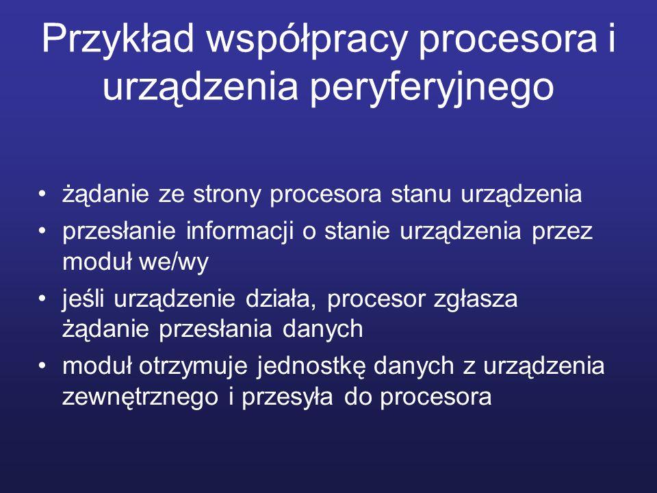 Przykład współpracy procesora i urządzenia peryferyjnego żądanie ze strony procesora stanu urządzenia przesłanie informacji o stanie urządzenia przez