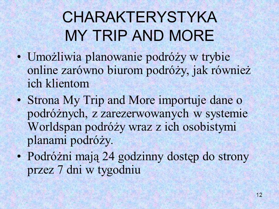 12 CHARAKTERYSTYKA MY TRIP AND MORE Umożliwia planowanie podróży w trybie online zarówno biurom podróży, jak również ich klientom Strona My Trip and M
