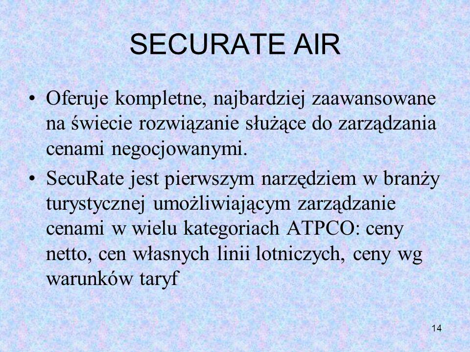 14 SECURATE AIR Oferuje kompletne, najbardziej zaawansowane na świecie rozwiązanie służące do zarządzania cenami negocjowanymi. SecuRate jest pierwszy