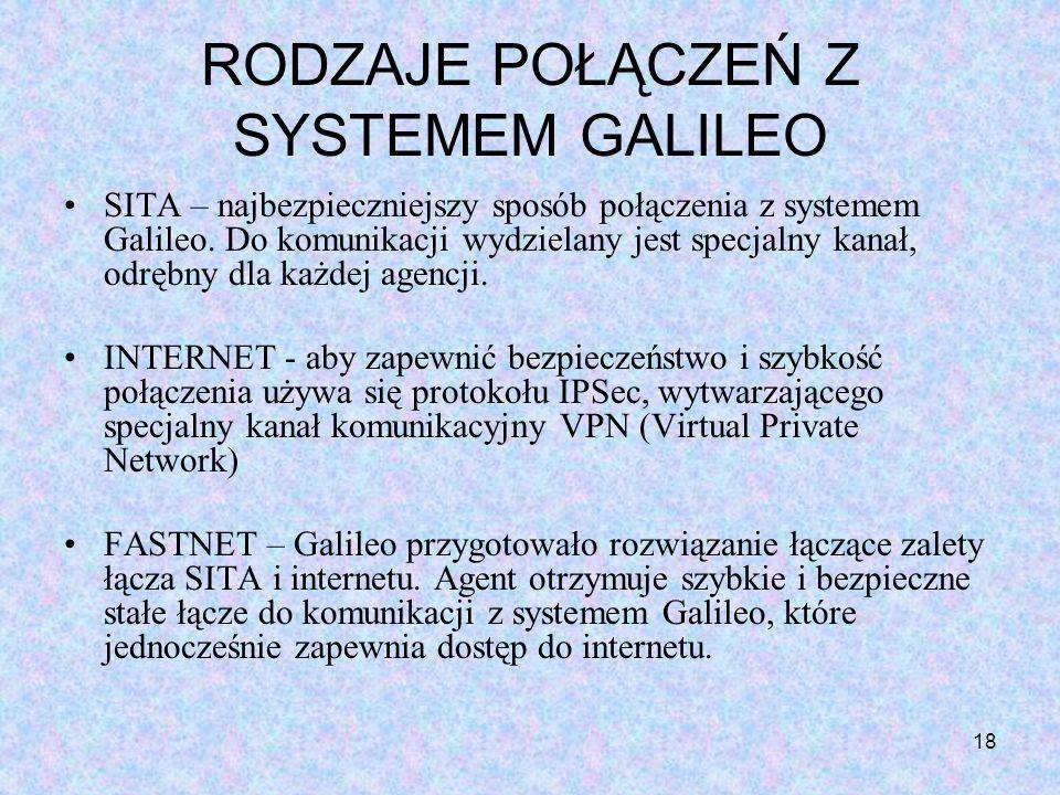 18 RODZAJE POŁĄCZEŃ Z SYSTEMEM GALILEO SITA – najbezpieczniejszy sposób połączenia z systemem Galileo. Do komunikacji wydzielany jest specjalny kanał,