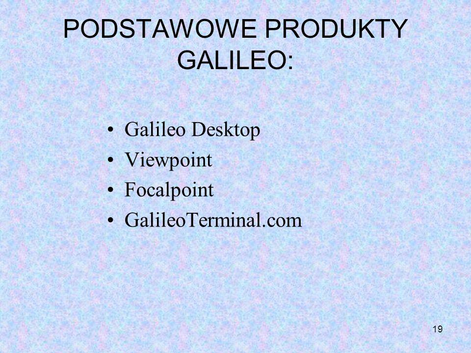 19 PODSTAWOWE PRODUKTY GALILEO: Galileo Desktop Viewpoint Focalpoint GalileoTerminal.com
