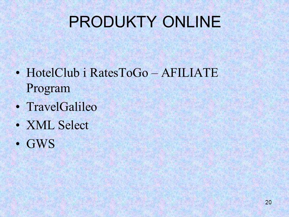 20 PRODUKTY ONLINE HotelClub i RatesToGo – AFILIATE Program TravelGalileo XML Select GWS
