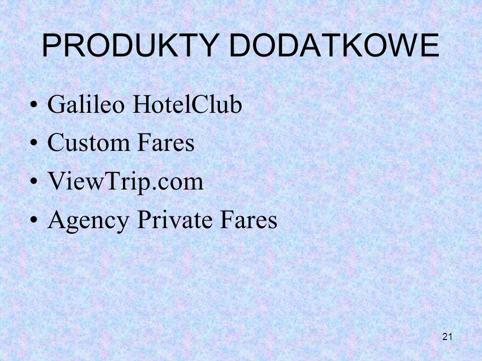 21 PRODUKTY DODATKOWE Galileo HotelClub Custom Fares ViewTrip.com Agency Private Fares
