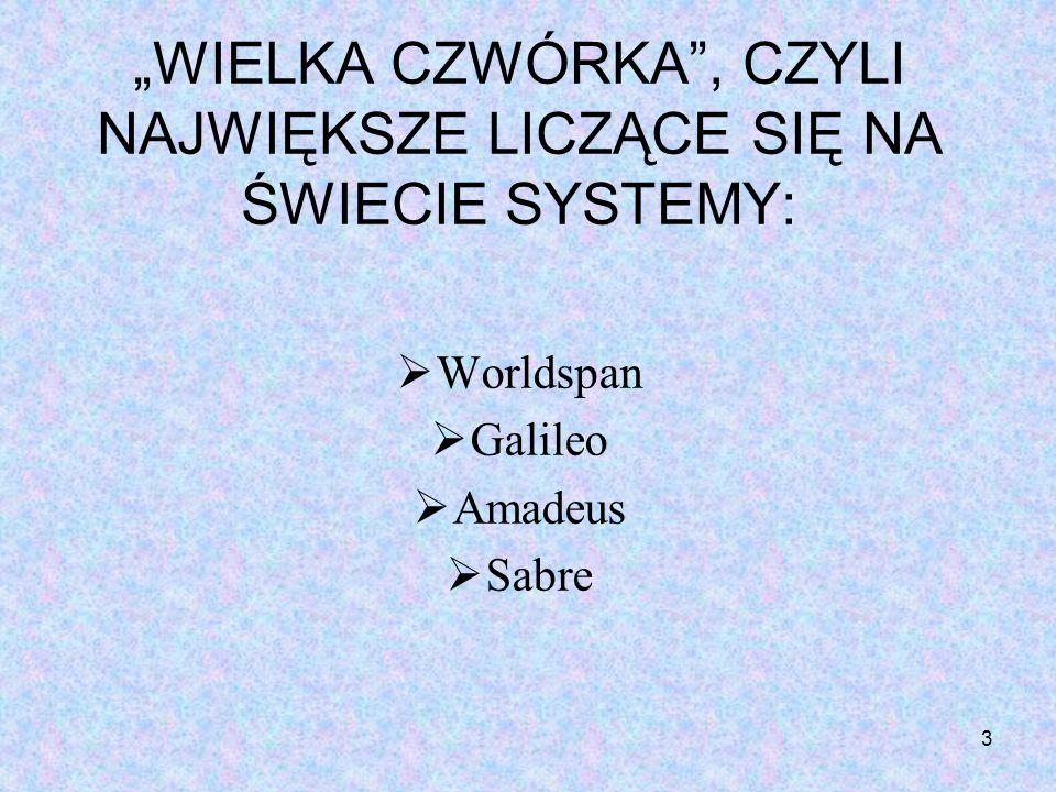 3 WIELKA CZWÓRKA, CZYLI NAJWIĘKSZE LICZĄCE SIĘ NA ŚWIECIE SYSTEMY: Worldspan Galileo Amadeus Sabre