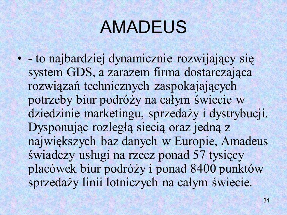 31 AMADEUS - to najbardziej dynamicznie rozwijający się system GDS, a zarazem firma dostarczająca rozwiązań technicznych zaspokajających potrzeby biur