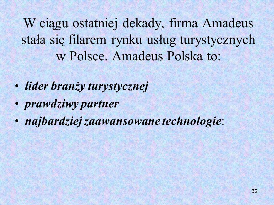 32 W ciągu ostatniej dekady, firma Amadeus stała się filarem rynku usług turystycznych w Polsce. Amadeus Polska to: lider branży turystycznej prawdziw