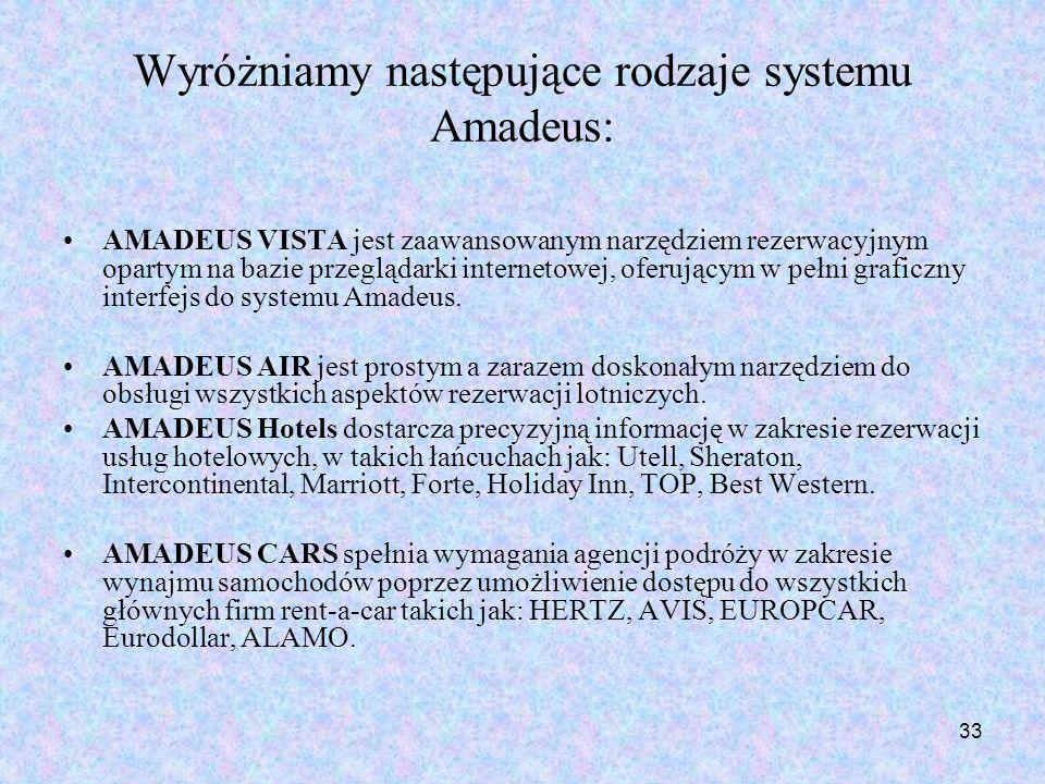 33 Wyróżniamy następujące rodzaje systemu Amadeus: AMADEUS VISTA jest zaawansowanym narzędziem rezerwacyjnym opartym na bazie przeglądarki internetowe