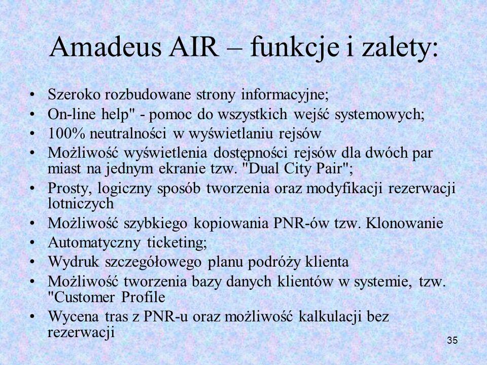 35 Amadeus AIR – funkcje i zalety: Szeroko rozbudowane strony informacyjne; On-line help