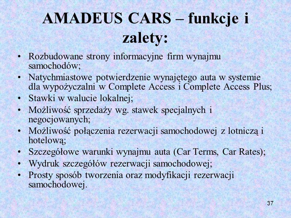 37 AMADEUS CARS – funkcje i zalety: Rozbudowane strony informacyjne firm wynajmu samochodów; Natychmiastowe potwierdzenie wynajętego auta w systemie d