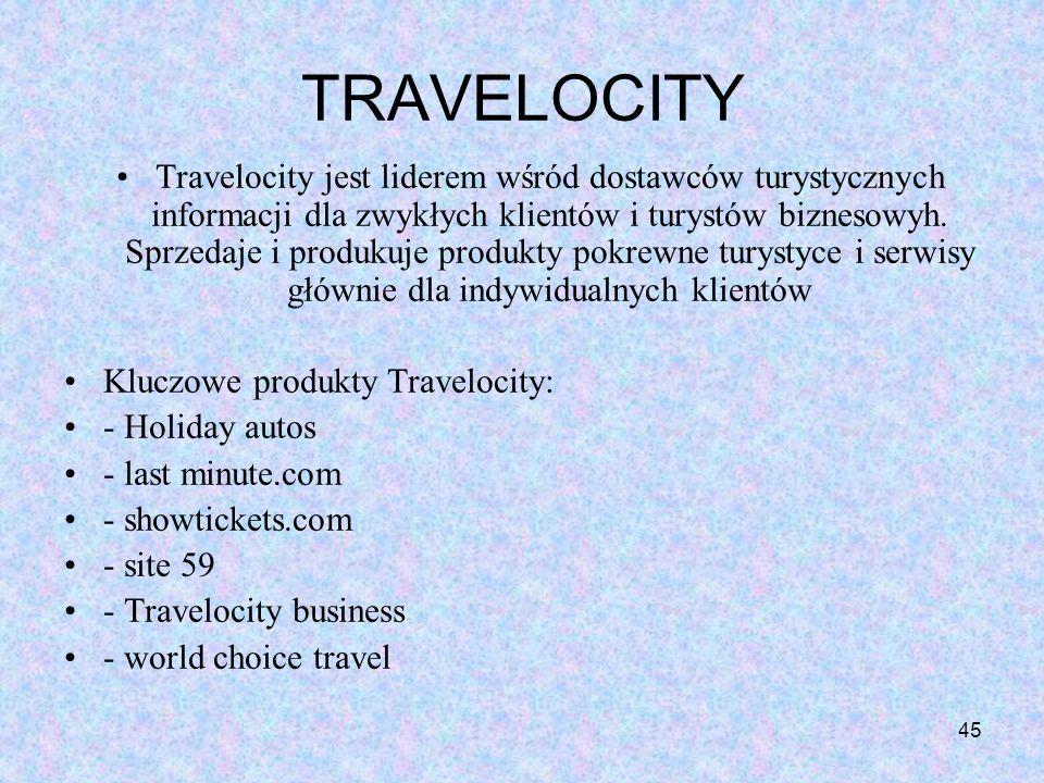 45 TRAVELOCITY Travelocity jest liderem wśród dostawców turystycznych informacji dla zwykłych klientów i turystów biznesowyh. Sprzedaje i produkuje pr