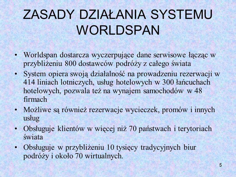 5 ZASADY DZIAŁANIA SYSTEMU WORLDSPAN Worldspan dostarcza wyczerpujące dane serwisowe łącząc w przybliżeniu 800 dostawców podróży z całego świata Syste