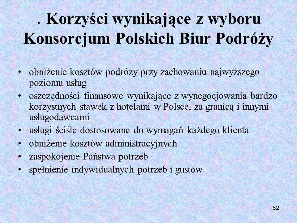 52. Korzyści wynikające z wyboru Konsorcjum Polskich Biur Podróży obniżenie kosztów podróży przy zachowaniu najwyższego poziomu usług oszczędności fin