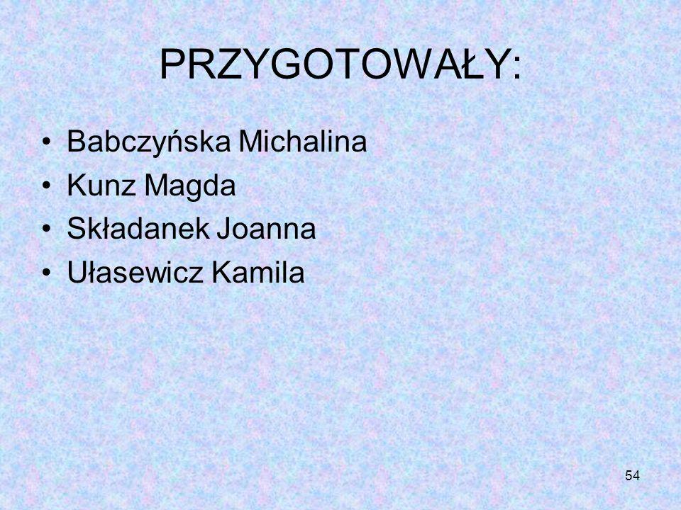 54 PRZYGOTOWAŁY: Babczyńska Michalina Kunz Magda Składanek Joanna Ułasewicz Kamila