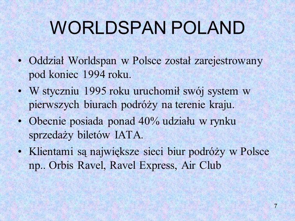 7 WORLDSPAN POLAND Oddział Worldspan w Polsce został zarejestrowany pod koniec 1994 roku. W styczniu 1995 roku uruchomił swój system w pierwszych biur