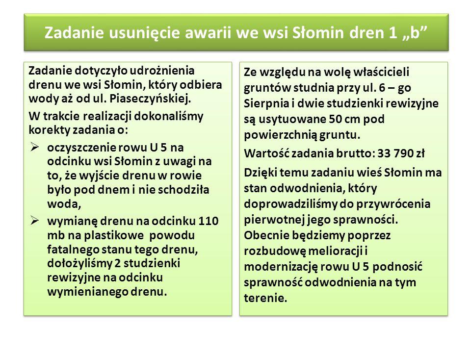 Zadanie usunięcie awarii we wsi Słomin dren 1 b Zadanie dotyczyło udrożnienia drenu we wsi Słomin, który odbiera wody aż od ul. Piaseczyńskiej. W trak