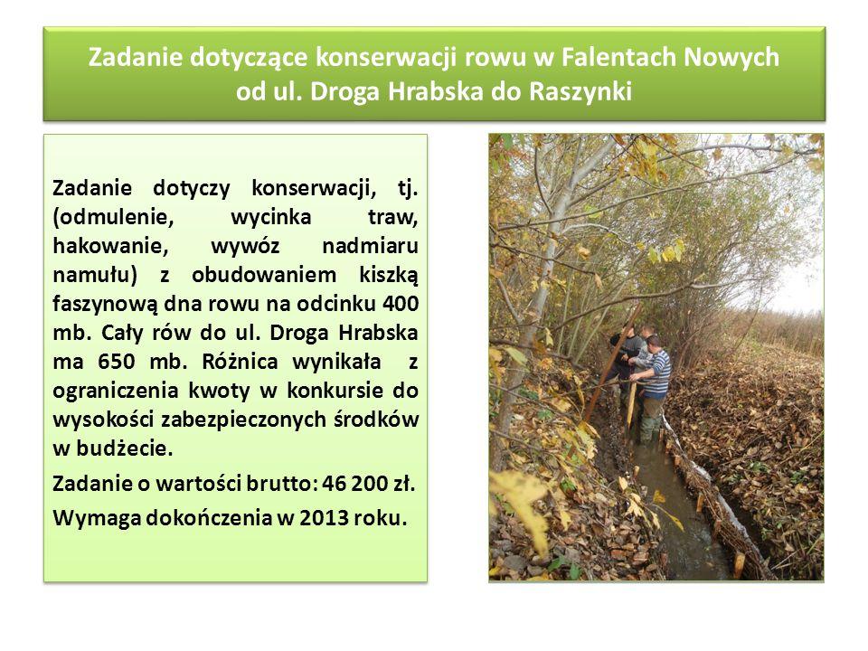 Zadanie dotyczące konserwacji rowu w Falentach Nowych od ul. Droga Hrabska do Raszynki Zadanie dotyczy konserwacji, tj. (odmulenie, wycinka traw, hako