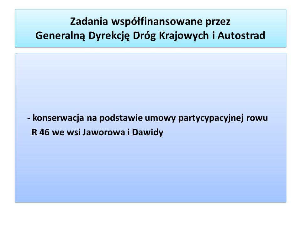 - konserwacja na podstawie umowy partycypacyjnej rowu R 46 we wsi Jaworowa i Dawidy - konserwacja na podstawie umowy partycypacyjnej rowu R 46 we wsi