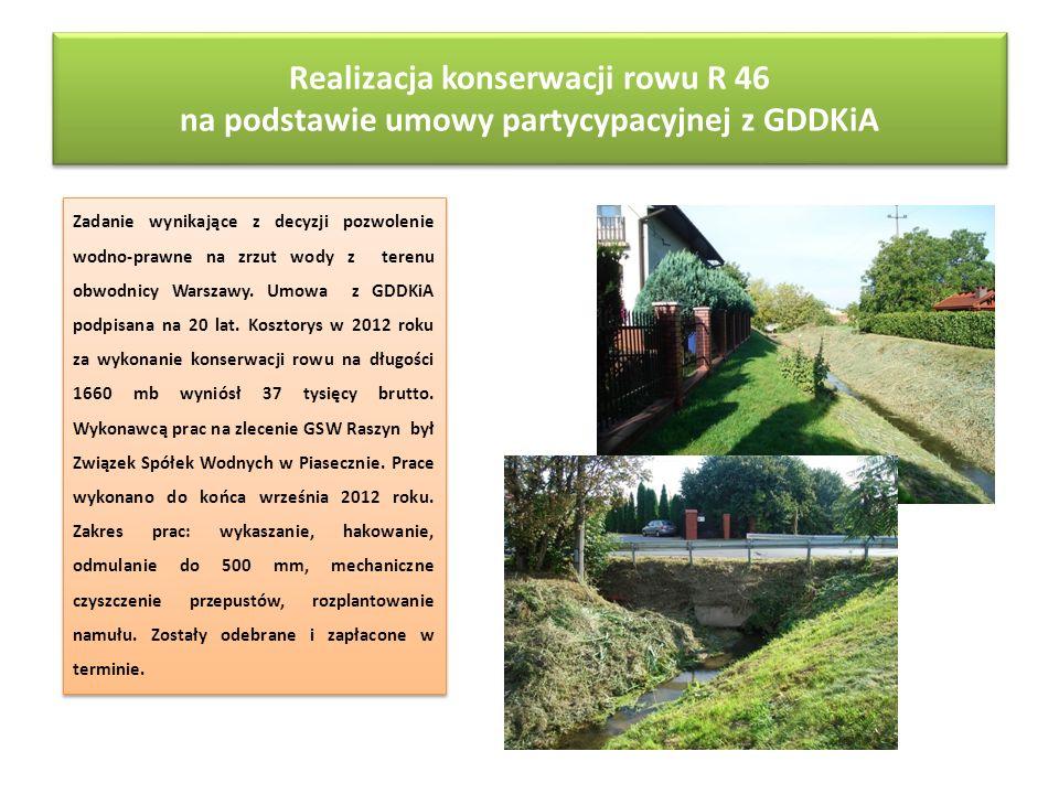 Realizacja konserwacji rowu R 46 na podstawie umowy partycypacyjnej z GDDKiA Zadanie wynikające z decyzji pozwolenie wodno-prawne na zrzut wody z tere
