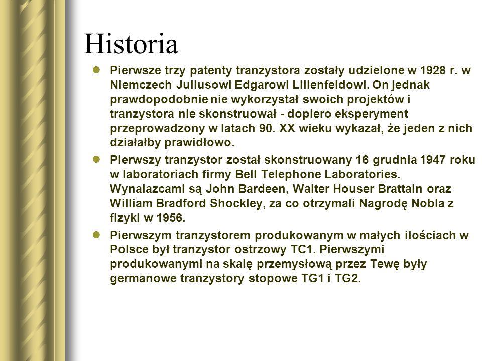 Historia Pierwsze trzy patenty tranzystora zostały udzielone w 1928 r. w Niemczech Juliusowi Edgarowi Lilienfeldowi. On jednak prawdopodobnie nie wyko